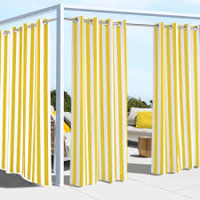 yellow coastal stripe polyester outdoor curtain