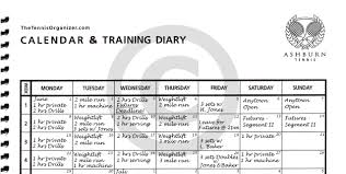 Web Calendar Training Diary 1 The Tennis Organizer Best Tennis