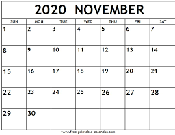 November 2020 Calendar Printables Pdf November 2020 Calendar Free Printable Calendar Com