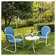 Griffith <b>3 Piece</b> Metal Outdoor Chat <b>Set</b> - Blue - Crosley : Target