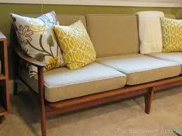 vintage teak mid mod sofa
