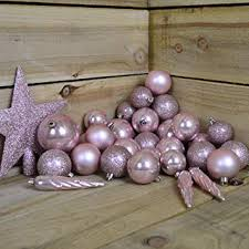 33er Set Kugelmix Pvc Mit Sternspitze Rosa Glanzmatt Weihnachtskugeln Baumschmuck Bruchfest Christbaumschmuck Deko