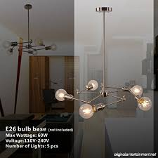 vinluz sputnik chandelier brushed nickel 5 lights dining room light fixtures pendant lighting flush mount ceiling