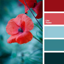 Bright palette consists of shades of deep dark blue and red, that are  harmoniously combined thanks to the soft blue color. Cobalt dark blue and  muted coral.