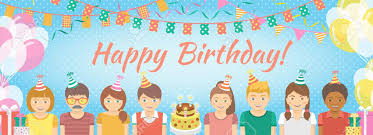 Modern Flat Colorful Vector Birthday Party Banner With Group Of Kids In  Festive Caps And Balloons, Garlands, Flags, Streamers, Gifts. Holiday  Horizontal Background. Royalty Free Cliparts, Vectors, And Stock  Illustration. Image 35553472.