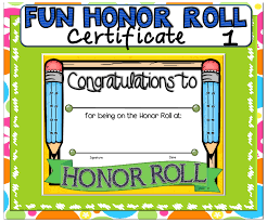 Certificate Fun Honor Roll 1 Honor Roll Certificate And