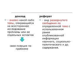 Определение понятия реферат презентация онлайн доклад анализ какой либо темы опирающийся на всестороннее исследование проблемы или ее отдельных аспектов своя позиция по проблеме реферат
