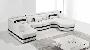 Cool White Leather Sectional Chaise Furniture Modern White Leather