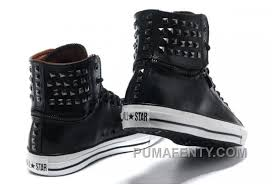 all star converse black leather rivets zipper x high tops mens sneakers