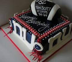 New York Giants Football Theme Birthday Cake With Football On Topjpg