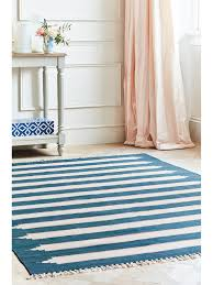 blue and white bold stripe rug