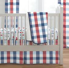 navy and red buffalo check crib bedding
