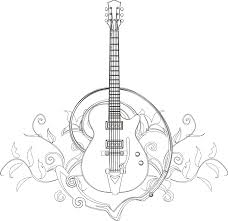 Small Picture Guitar coloring page I Blanco Designs Zentangles Adult