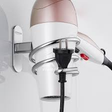 wall mounted hair dryer holder silver