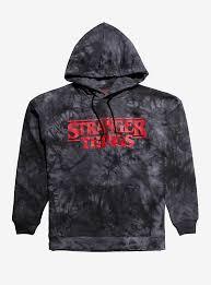 Size Dark Girls Tie Hoodie Dye Stranger Plus Things Grey Logo