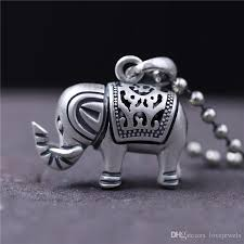 whole snap jewelry 990 sterling silver elephant necklace charms fashion vintage do old retro hollow pendant women cute auspicious elephant stereo chunky
