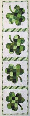Shabby Fabrics Patchwork Shamrock Table Runner Kit - http://www ... & Shamrock Table Runner: quilt runner design would translate really well into  a card using 1 inch scraps behind a cutout. Might have to give this a try. Adamdwight.com