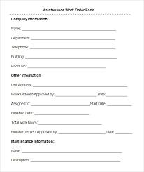 Free 8 Sample Maintenance Work Order Forms In Pdf