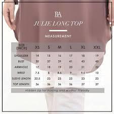 Bella Ammara Size Chart Bella Ammara Julie Long Top Measurement Chart Womens