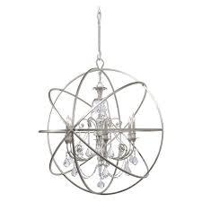 crystorama solaris 6 light swarovski strass crystal silver sphere chandelier