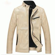 47 men s fashion cream color leather casual jacket cjdg 05cr image