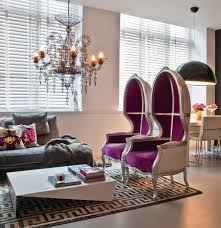 Purple And Gray Living Room Contemporary Space In Purple And Gray Interiors By Color