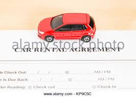 Car Rental Agreement With Red Car On Center. Auto Rental Agreement ...