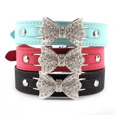 leather dog collar with bling crystal bow 3 colors available