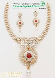 18k gold diamond necklace drop earrings set with color stones pearls 235