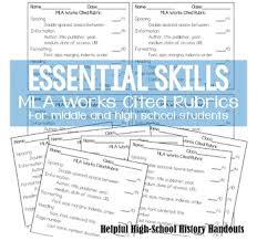 Mla Format Works Cited Rubric By Helpful High School Handouts Tpt