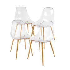 GreenForest Acrylic Dining Side Chairs Transparent Clear Seat with Strong  Metal Legs, Set of 4