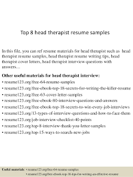 Counseling Resume Mesmerizing Top 44 Head Therapist Resume Samples