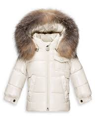 Moncler Baby s K2 Fur-Trim Puffer Jacket Natural Kids Baby (0-24 Months)  Outerwear