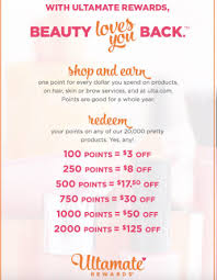 Ulta Point System Chart Earning And Redeeming Points At Ulta Under The Ultamate