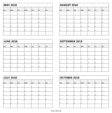 blank 2018 calendar blank 2018 calendar may to october download 6 monthly calendar