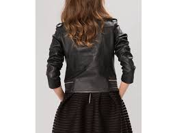 lyst maje jacket basalt leather biker in black