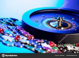 Light Blue Poker Chips Casino Concept High Contrast Image Casino Roulette Poker