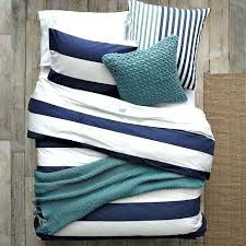 blue and white striped bedding navy bedspread rugby stripe quilt orange mu