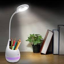 Flower Pot Light Inspiring Tech Led Desk Lamp For Study White Dimmable Table Lamp With Pen Holder Or Plant Pot Eye Caring Table Lamp Night Light Touch Lamp Pen