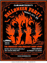Costume Contest Flyer Template Halloween Party Flyer Template Witches Dancing Stock Vector