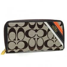 Coach Legacy Stripe In Signature Large Beige Wallets AHF