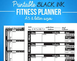 Diet Workout Journal Printable Fitness Journal Black Diet Diary Nutrition Workout Bundle A5 Letter Sizes Digital Pdf Weight Loss Exercise Journal