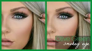 olive green smokey eye makeup tutorial