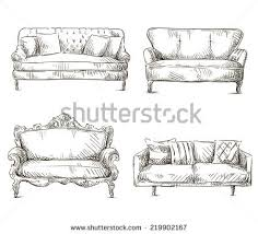 couch drawing. Set Of Sofas Drawings Sketch Style, Freehand. Couch Drawing