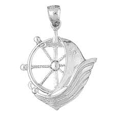 sterling silver 925 sailboat with ships wheel pendant sterling silver pendants at jewelsobsession com
