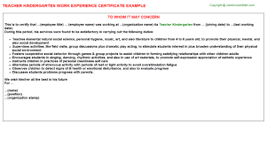 Work Experience Certificate Sample For Teacher Best Of Experience