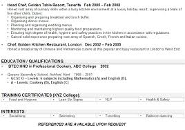 Chef Cv Template Chef Cv Sample