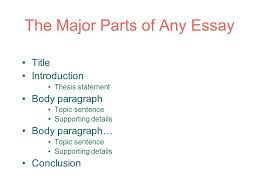 essay structure and thesis ppt  the major parts of any essay