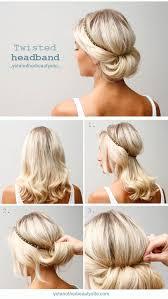 twisted headband updo hairstyle