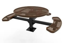 elite series round picnic tables pedestal inground mount